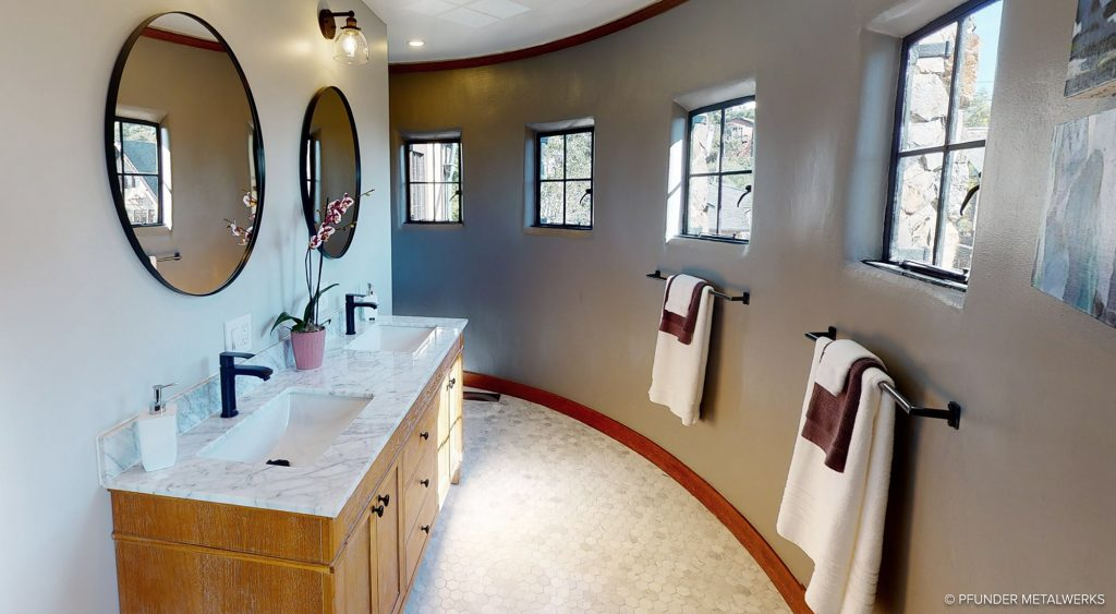 Curved towel bars in master bath
