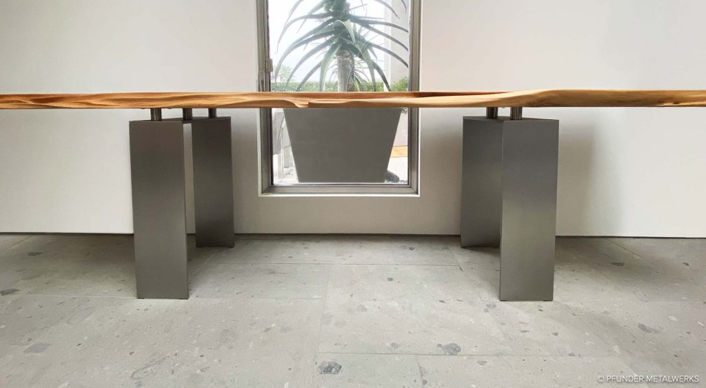 Modern aluminum table legs for live edge wood top