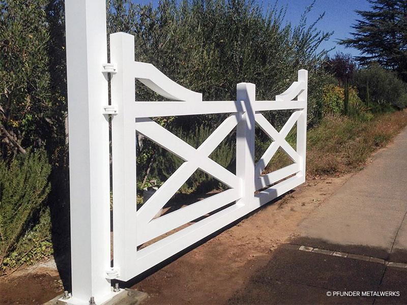 White aluminum farm gate
