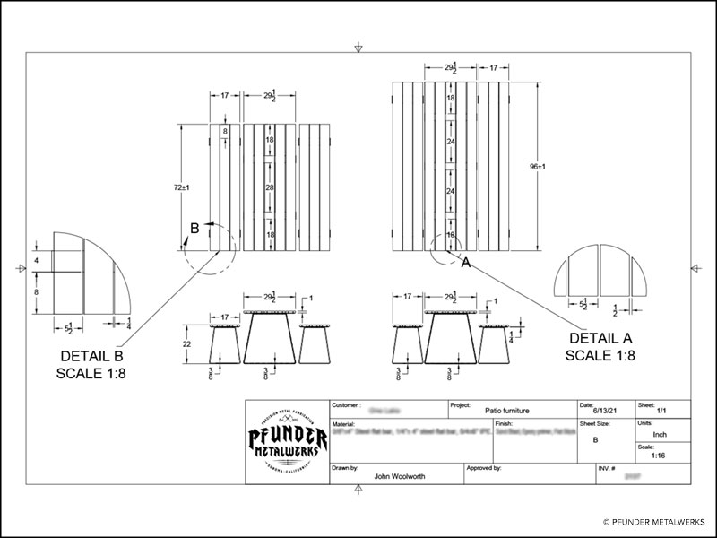 Drawing for ipe wood picnic table and bench