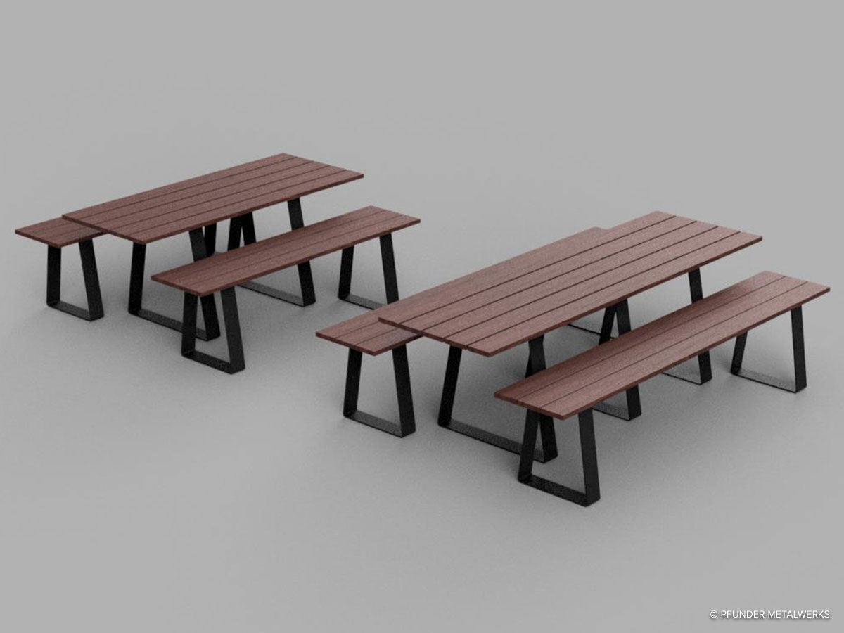 Rendering of ipe wood picnic table and bench