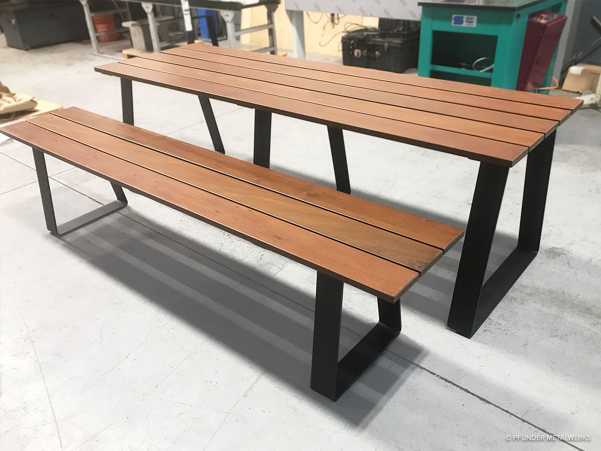 Finished ipe picnic table and bench