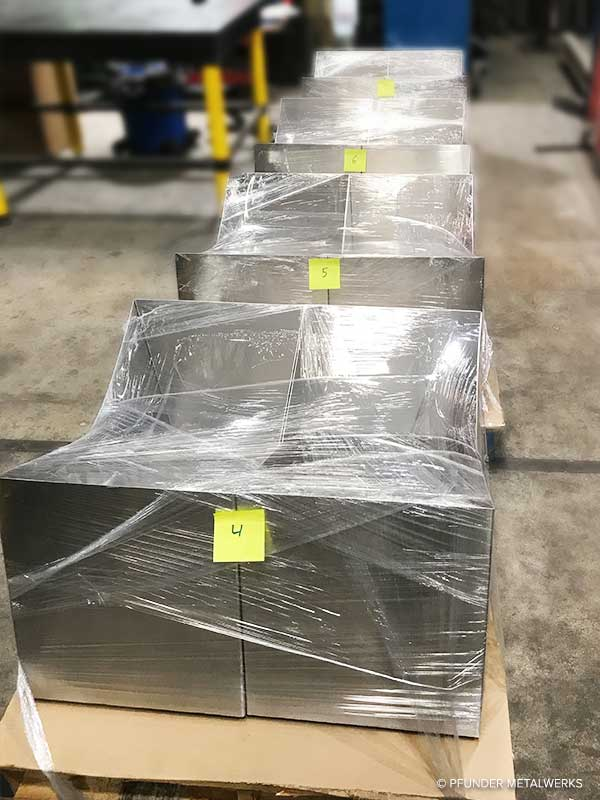 Production pieces packed for shipping