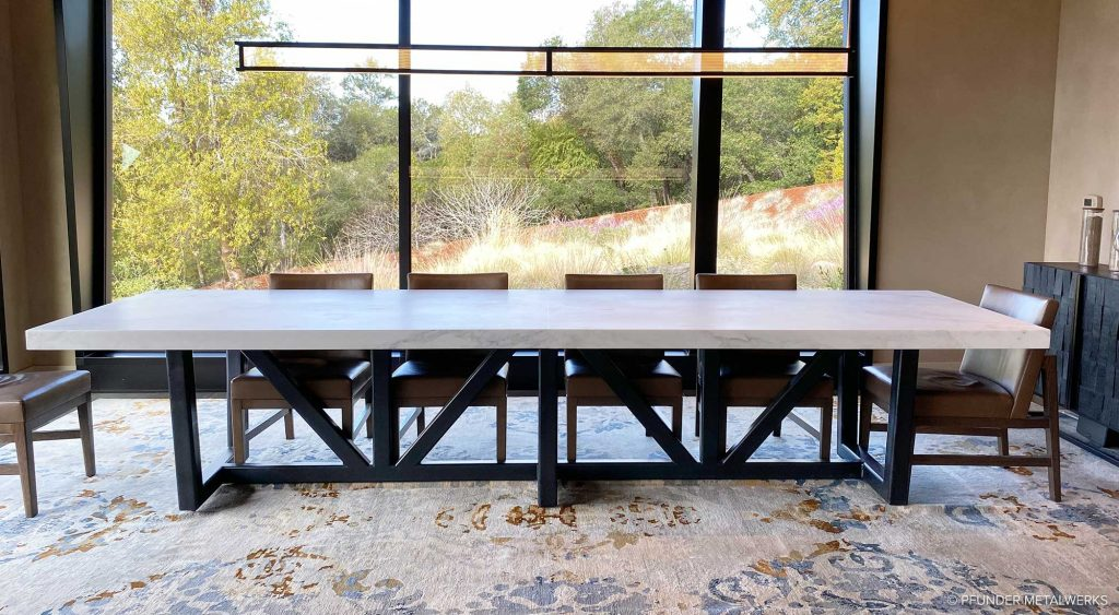 Winery tasting table with steel legs and marble top