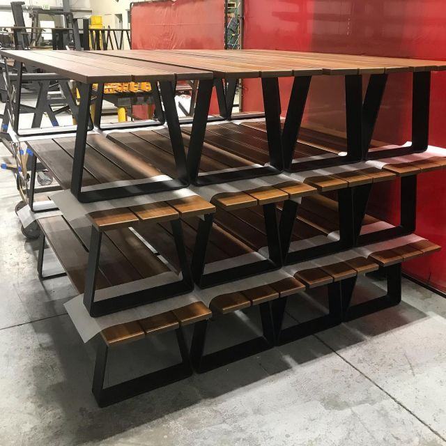 Loads of furniture headed out the door. Powder coated steel bases topped with Ipe. #madeinsonoma @melrosemetalfinishing @normanmachinetool @adobelumber #furniture #steel #outdoorpatiofurniture